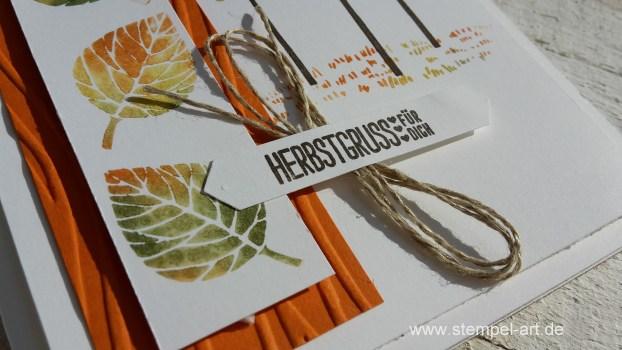 Wald der Worte nach StempelART, Stampin up, Blatt und Blüte, Drauf und dran, Gerbstgrüße, Stanze Klassisches Etikett, Dreífach einstellbare Fähnchenstanze, Baby Wipe Technique, Feuchttuch Technik