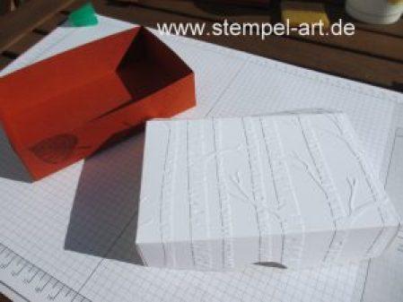 Pop up Box für eine Gutscheinkarte nach StempelART, Stampin up, Gift Card, Tutorial, bebilderte Anleitung, Drauf und dran, Laub, Vintage Leaves, Geschenk deiner Wahl, Lagenweise Ovale, Donnerwetter , Im Wald