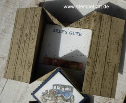 Schachtelkarte nach StempelART, Stampin up, Geldgeschenk, Gutscheinkarte, Gift Card, Hardwood, Für ganze Kerle, Gorgeous Grunge, Lagenweise Quadrate