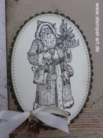 Weihnachtliche Schokoladen Ziehverpackung nach StempelART, Stampin up, Father Christmas, Weihnachtsstern, Framelits Stickmuster, Lagenweise Ovale