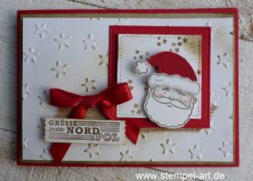 Grüße vom Weihnachtsmann nach StempelART, Stampin up, Jolly Friends, Elementstanze Weihnachtmütze, Framelits Stickmuster, Glückssterne, Stanze Abreißetikett
