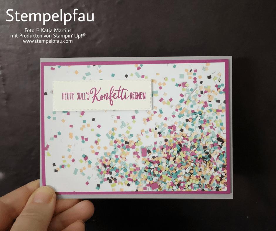 Ein bisschen Konfetti? Designerpapier Perfekte Party von Stampin' Up!, Leider nicht mehr erhältlich, aber wunderschön.
