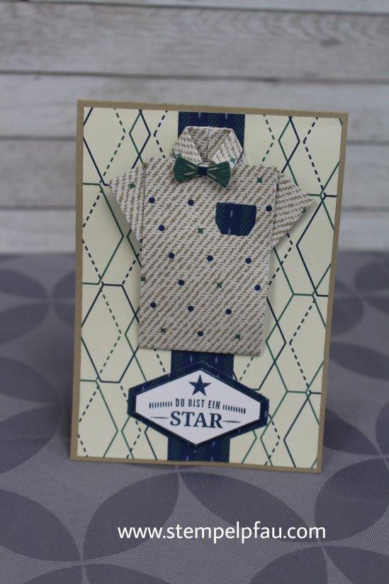 Eine Männerkarte mit dem Designerpapier Ganz Gentlman von Stampin' Up!