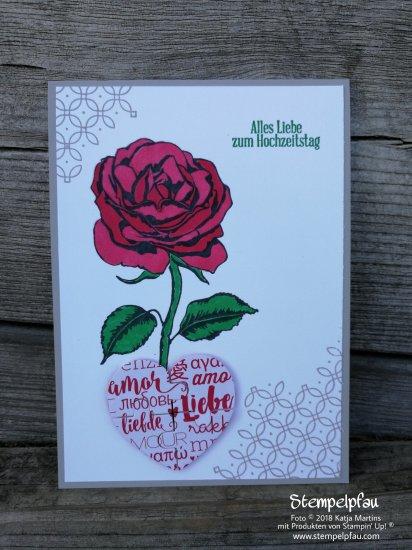 Hochzeitskarte mit dem Stempelset Graceful Garden von Stampin' Up!