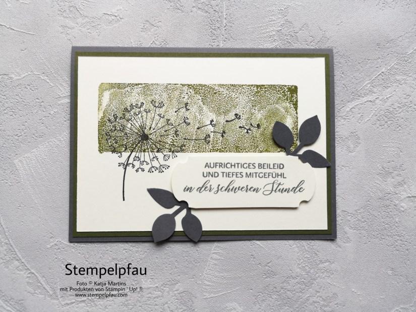 Trauerkarte, Stempelblock Technik, Stampin' Up!, Kreativ mit dem Stempelpfau
