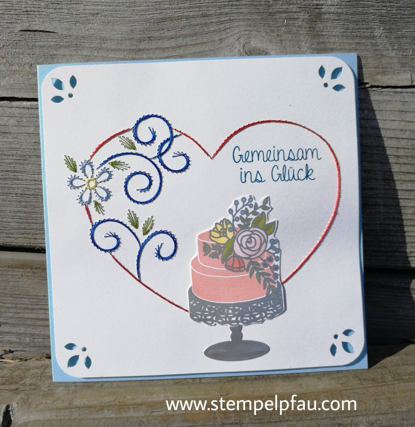 Fadengrafik Karte zur Hochzeit und mit Stampin' Up! Produkten