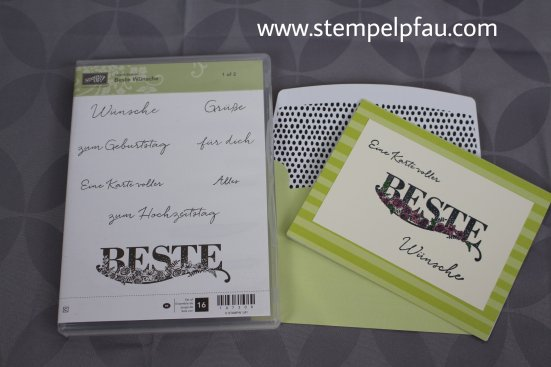 Karte in Limette mit Produkten aus der Sale-a-Bration von Stampin' Up!. Schreib dem Stempelpfau