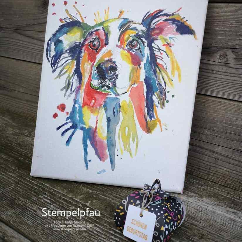 Gemälde bunter Hund und kleine Zierschachtel von Stampin' Up!, Stempelpfau