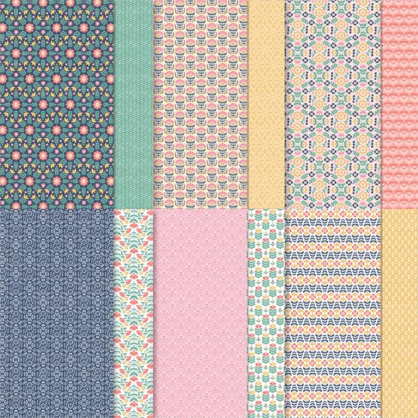 Designerpapier Fantasie in Symmetrie