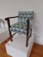 'Charles Street' (pre-loved chair, stenciled design, metalic thread embroidery) 2013
