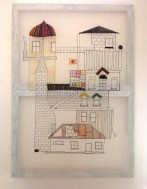 'House' (chiffon fabric stretched over frames, disperse dyes, weaving, stitching, permanent marker) 2013