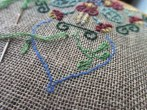 Mandala embroidery for purse in progress (assorted thread on Dublin linen) 2015