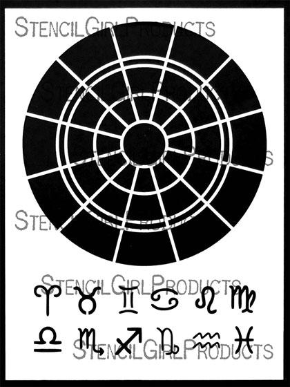 Zodiac Text Symbols Black : zodiac, symbols, black, Zodiac, Chart, Stencil, Kathryn, Costa, StencilGirl, Products