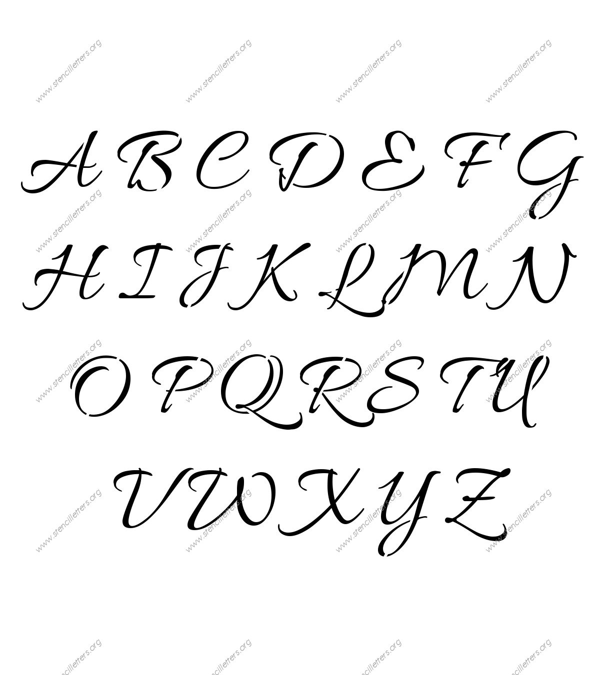 Connected Cursive Uppercase Amp Lowercase Letter Stencils A Z 1 4 To 12 Inch Sizes