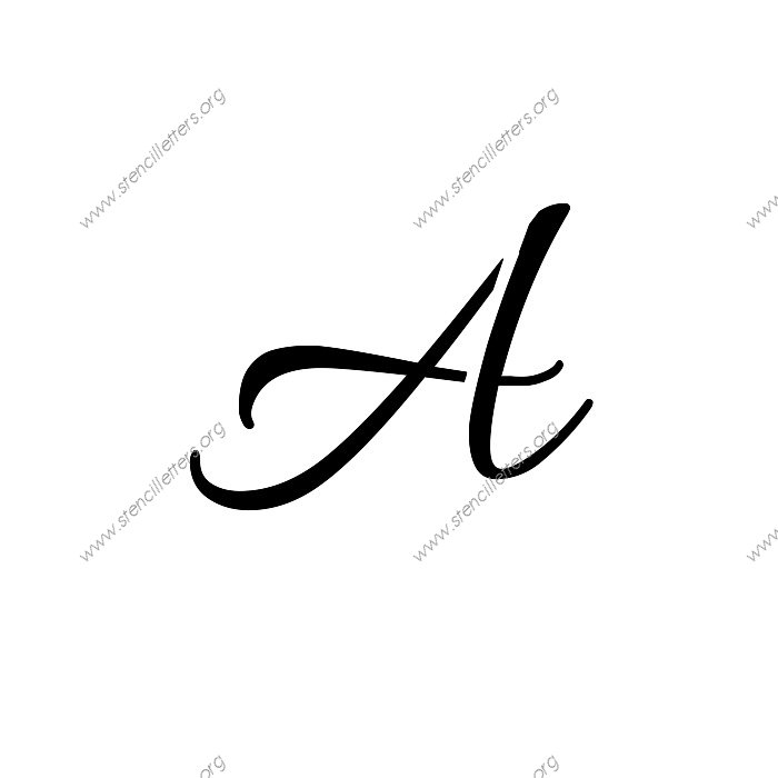 Connected Cursive Uppercase & Lowercase Letter Stencils A