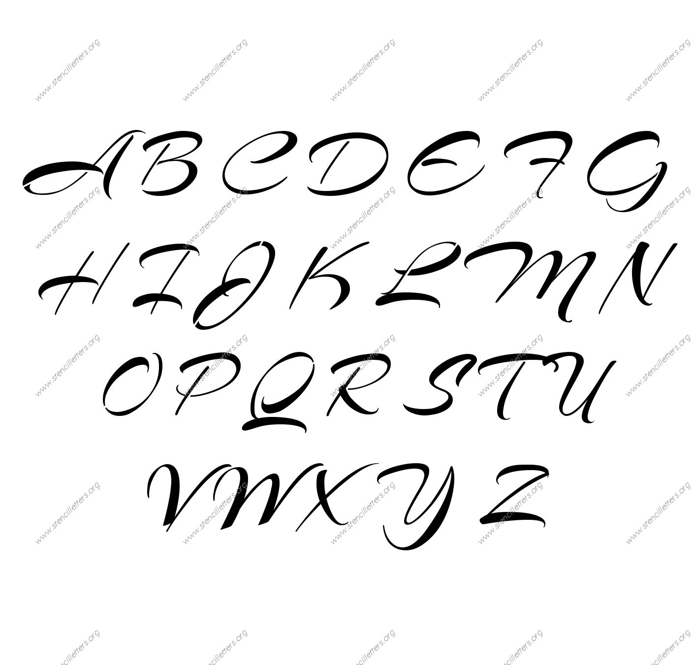 Brushed Cursive Uppercase & Lowercase Letter Stencils A-Z