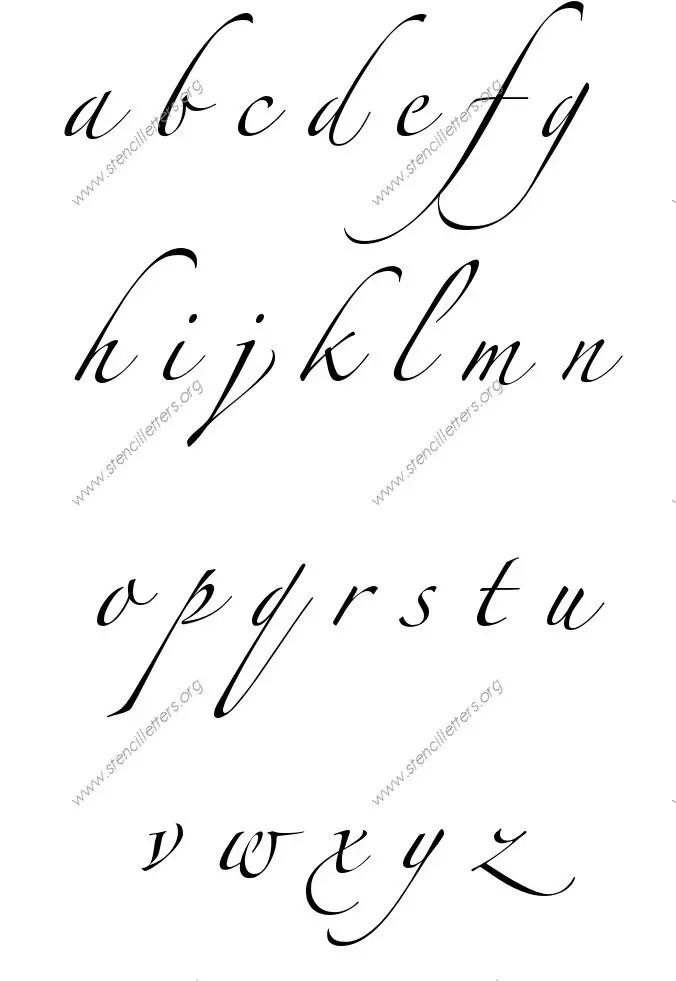 Script Cursive Uppercase & Lowercase Letter Stencils A-Z 1