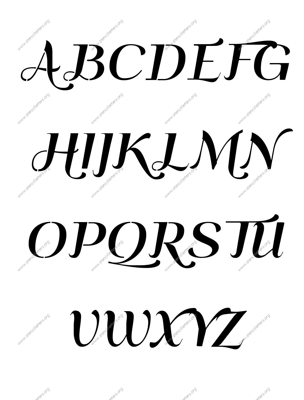 Art Deco Italic Number Stencils 0 To 9