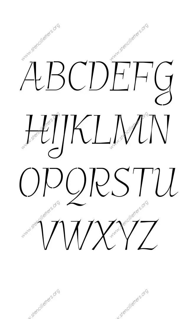 Fancy Italic Uppercase & Lowercase Letter Stencils A-Z 1/4