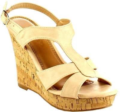 BESTON Women's Strappy Slingback Platform Cork Wedge Sandal Review