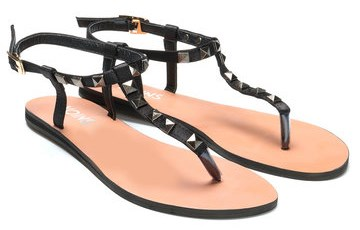 t-strap black sandals