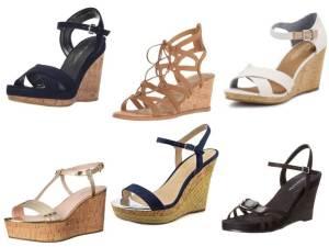 Cork Wedge Sandals collage