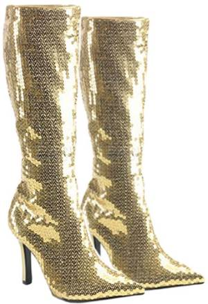 gold sequin boot
