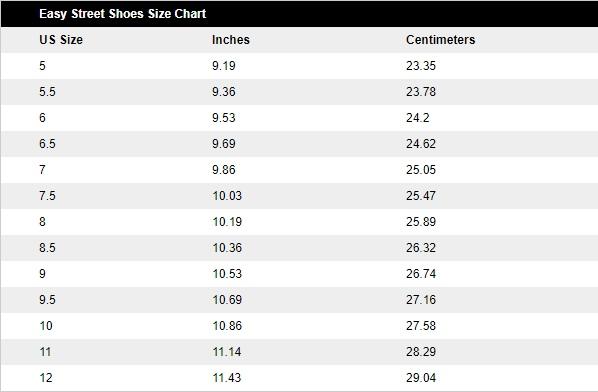 Easy Street Shoe Size Chart