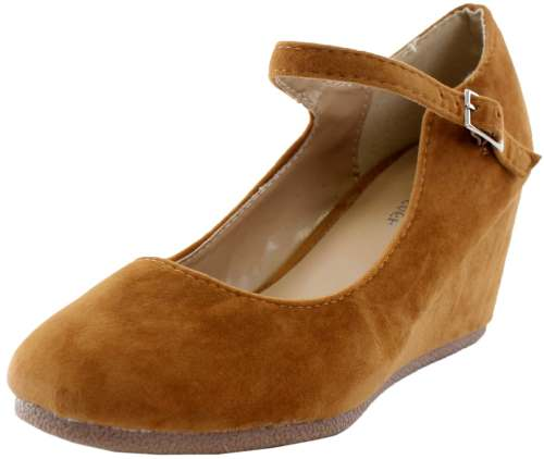 Forever Link Womens Patricia-05 Mary Jane Strap Faux Suede Wedge Pumps