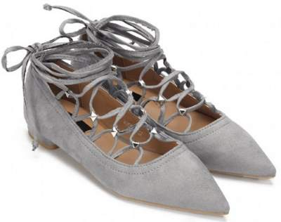 gray laced flats