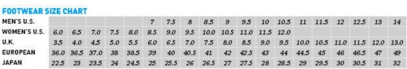Mizuno Women's Size Chart