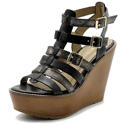 Ollio Womens Shoe Burnish Vintage Gladiator Strap Wedge High Heel Sandal Review