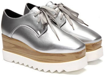 silver platform shoes