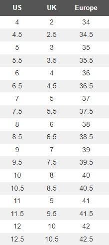 RYKA Women's Shoe Size Chart