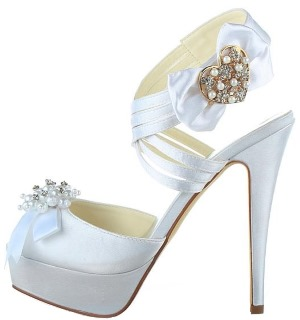Peep Toe Stiletto Heel with Rhinestones and Bowknot
