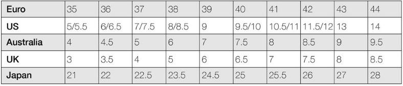 Alegria women's size chart