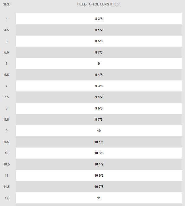 Nike Women's Size Chart