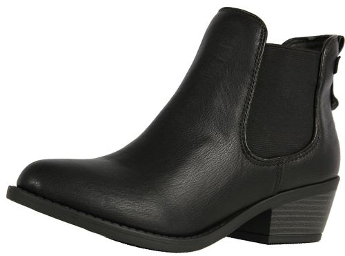 Soda Women's Chelsea Faux Leather Elastic Side Panel Ankle Boot