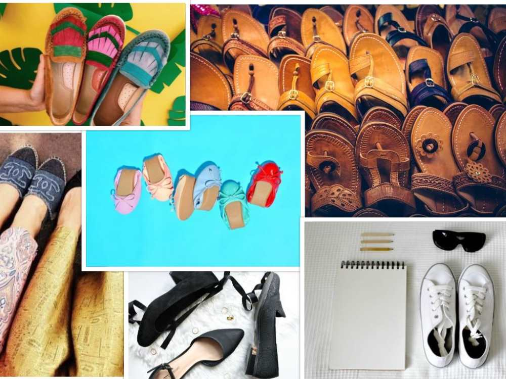 womens shoes materials technologies collage