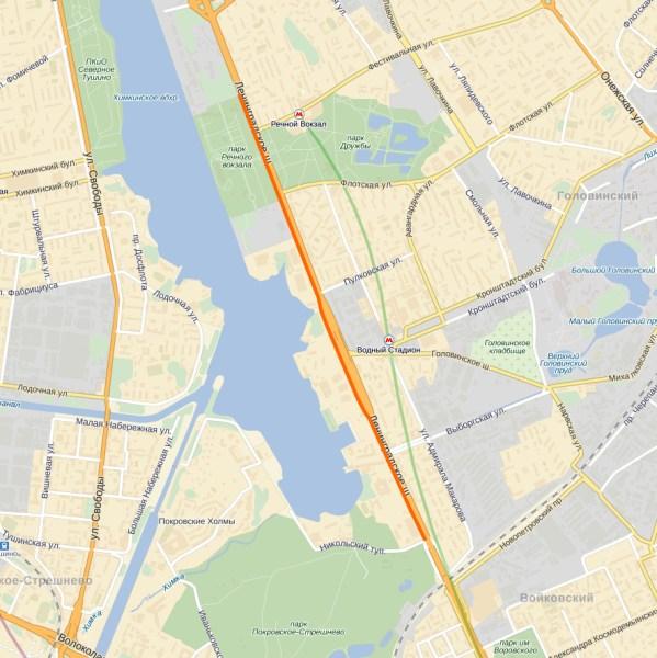 Маршрут велодорожки на Ленинградском шоссе (пользовательское соглашение Яндекса: http://legal.yandex.ru/maps_termsofuse/)
