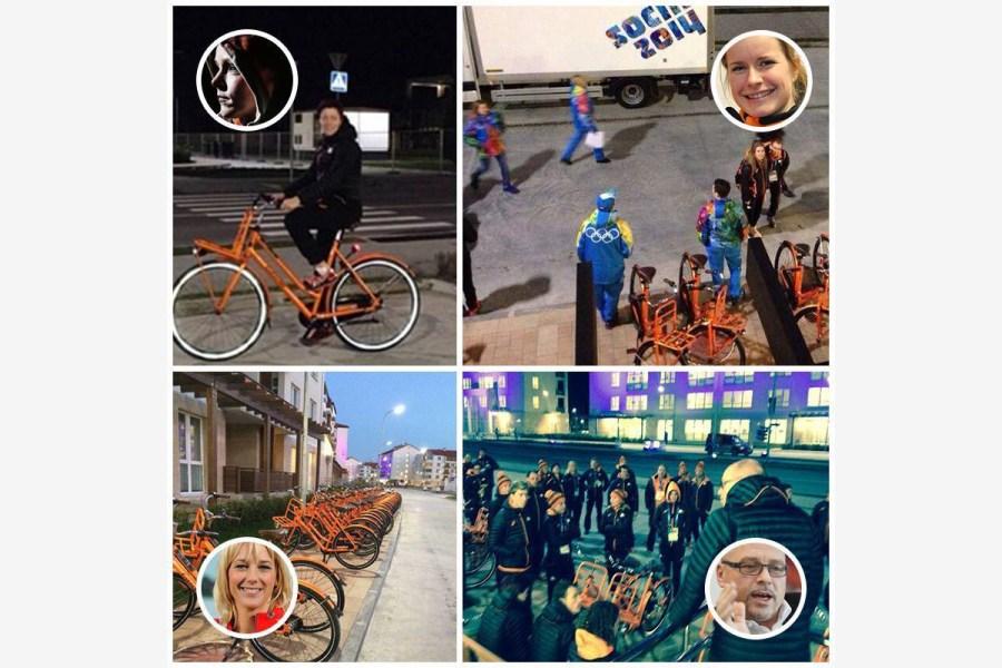 2014.02.10 - 05 - Ещё олимпийцы из Нидерландов и их велосипеды. Можно устроить викторину =) (Facebook, Fiets op het net)
