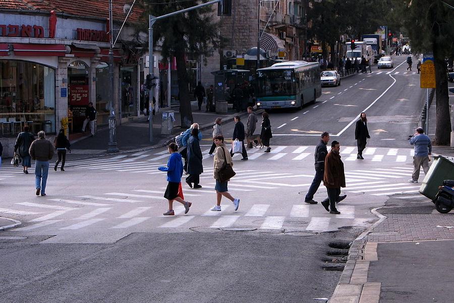 Диагональный пешеходный переход в Иерусалиме (фото: Wikipedia/יעקב)