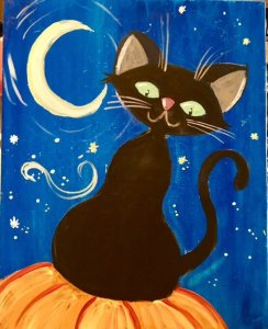 Halloween cat with crescent moon painting