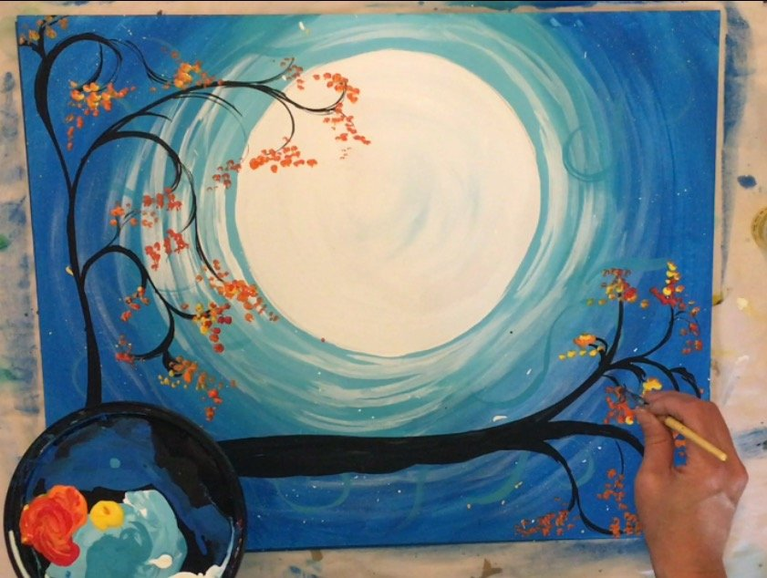 How To Paint A Cat And Moon Tracie S Acrylic Canvas