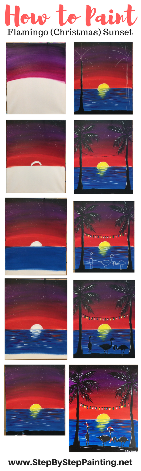 How To Paint A Flamingo Christmas Sunset - Step By Step ...