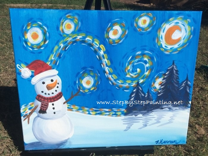 How To Paint A Snowman Starry Night Step By Step Painting