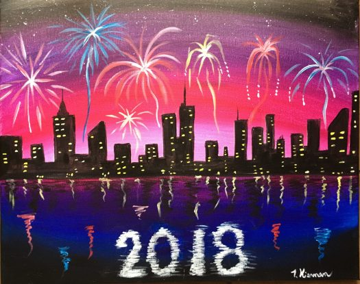 how to paint fireworks with acrylics, how to paint fireworks, Cityscape Painting, City Painting,