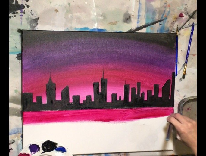 Cityscape Fireworks Step By Step Painting Tracie S