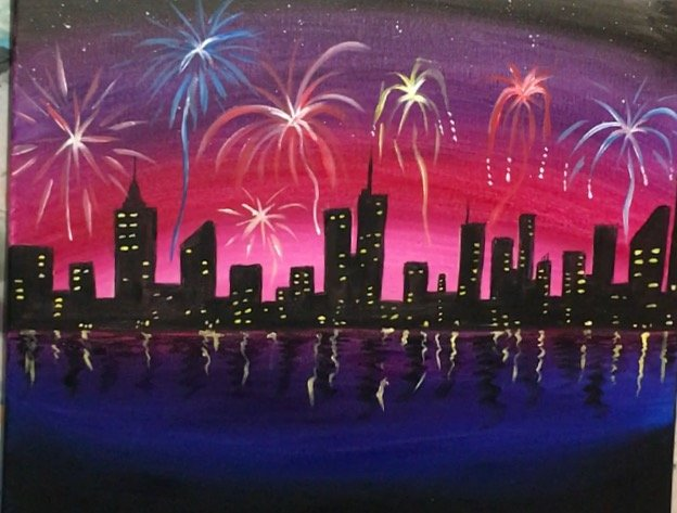 How To Paint Fireworks City Scene Step By Step Painting