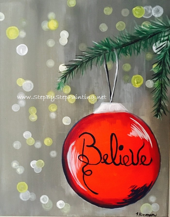 Easy Christmas Paintings.How To Paint An Ornament With Blurry Lights Tracie S